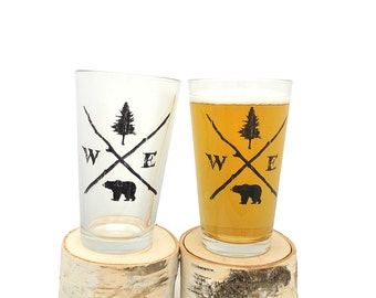 Pint Glass - Forest Compass - Screen Printed Beer Glass - Set of two 16oz. Pint Glasses