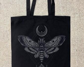 Moth, Moon, Rock - Black Cotton Canvas Tote Bag