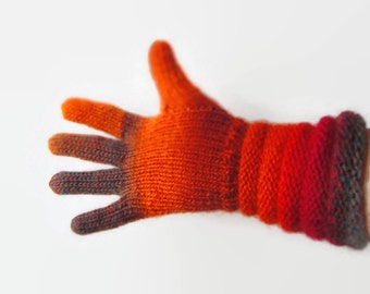 Multicolor Red Orange Grey Gloves. Handknitted Wool Gusset Gloves. Knitted Winter Arm Warmers. Women Wool Handknitted Gloves. Gift for Her.