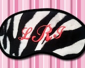 Monogram Initials - Custom Made Personalized Zebra printed Embroidered Eye Mask