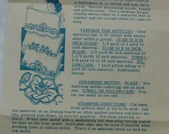 Vintage Embroidery Transfer Pattern, Laura Wheeler No.807 Pillowcase Motifs
