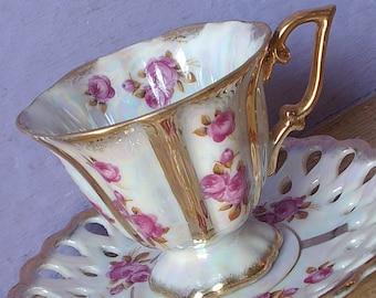 Antique Royal Sealy china pink rose tea cup and saucer, Japanese tea cup, gold iridescent tea cup, porcelain tea cup, lustreware tea cup,