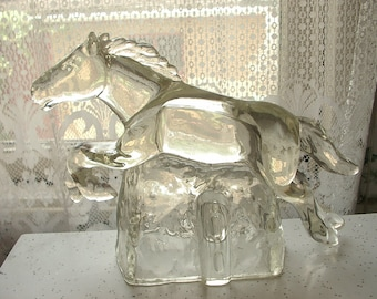 Vintage Glass Horse Figurine, Glass Paperweight, Leaping Stallion figurine, Glass doorstop, Country Western Decor, Texas Cowboy gift,