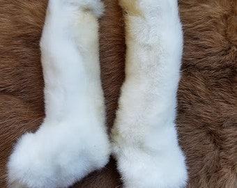 White Rabbit Feet - Rear Paws - Rex Fur - Naturally Dried