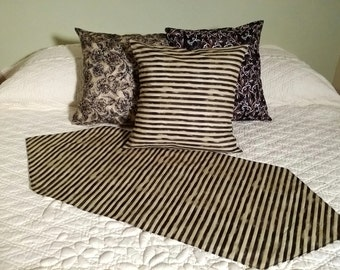 Elegant Pillow covers, table runners, dresser scarf, matched sets. chalkboard paint, vintage scrolls, Primitive Black and Tan