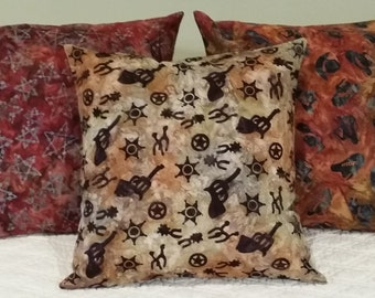 Southwestern Pillow Covers.  Western Throw Pillow. Table Runner. Dresser Scarf. Western Home Decor.  Cowboy UP! Man Cave Decor.