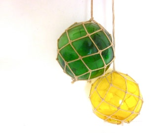 Antique handblown fishing glass bouys, vintage glass floating balls ,nautical beach decor