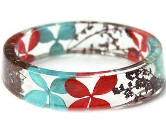 Red and Turquoise Bracelet - Real Flower Jewelry-- Jewelry with Real Flowers- Red Flowers- Turquoise Bracelet -Resin Jewelry- Pink Bracelet