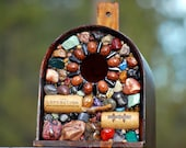 """UPcycled Wine Cork and Stone Wood Birdhouse ready for the Outdoors """"The Expedition"""" Rustic birdhouse bird lover unique gift"""