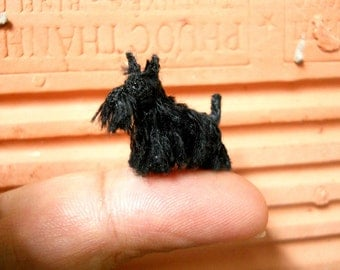 Black Scottish Terrier - Tiny Crochet Miniature Dog Stuffed Animals - Made To Order