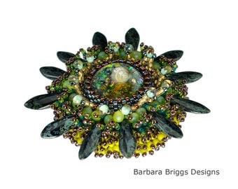 "The ""Marine Life"" Bead Embroidered Brooch Kit - Black-Lime-Green Tones"