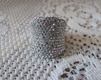 Silver Pave Crystal Statement Ring Size 6.5