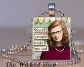 Scrabble Tile Necklace - Nerdy  -Smart Girl Gift - Genius - High IQ - Sarcastic Teacher - Free Silver Plated Ball Chain Inc.