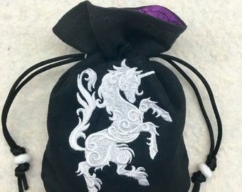 HERALDIC UNICORN - Faux Suede Drawstring Pouch with Machine Embroidery for Dice, Runes, Tarot Cards