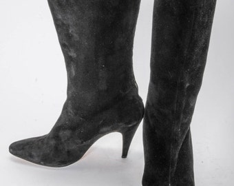 30% OFF Black suede High Heeled Boots Women's Size 8 .5