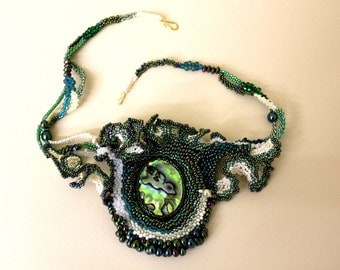 Sensational glass beaded embroidered embroidery octopus necklace, sea, ocean, unusual, statement, abalone