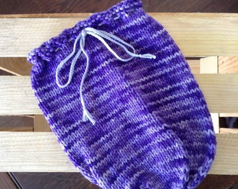 Knit Newborn Photography Prop, Purple Swaddle Sack, RTS