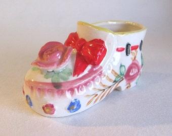 Adorable Vintage Porcelain Ceramic Baby Shoe- Japan, Baby Girl