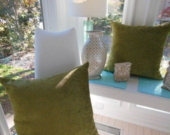 Avocado Green Pillow - Large Decorative Pillow - Chenille Pillow - Soft Pillow - Reversible 20 x 20 Inch - Pillow Insert Included