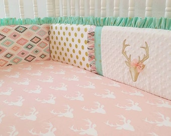 Deer Crib Bedding- Girl Baby Bedding- Boho Crib Bumper- Buck Bedding-MADE TO ORDER--