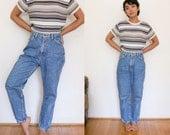 High Waist Denim Jeans / Acid Wash High Waisted Jeans / Mom Jeans Boyfriend Pants Light Blue Jean 80s Hipster 10 Petite Small Medium
