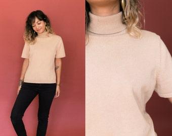 Beige Turtleneck Shirt / Brown Turtleneck Sweater / Short Sleeve Sweater / Cream Knit Top Mock Neck Shirt / 90s Grunge Womens Medium