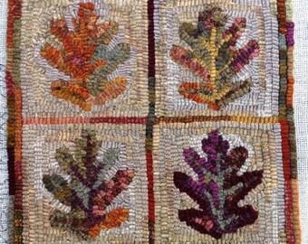 """Rug Hooking PATTERN,  Oak Leaves, 12"""" x 12"""", J983, DIY Rug Hooking, Primitive Rug Hooking Design"""