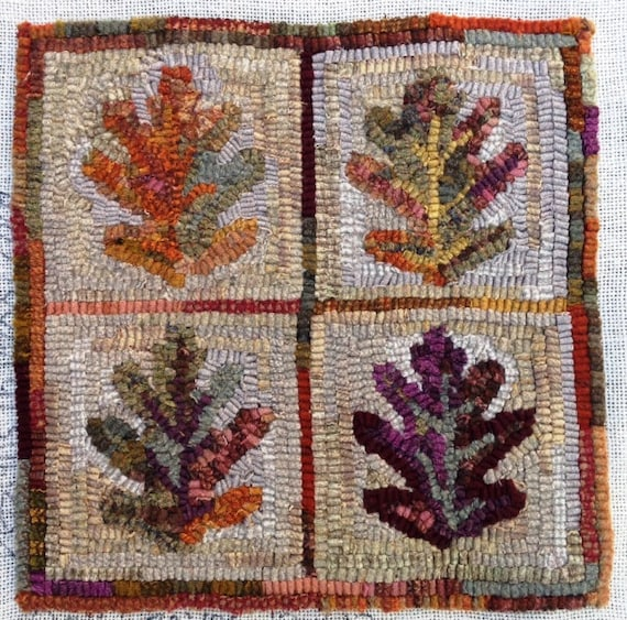 "Rug Hooking PATTERN,  Oak Leaves, 12"" x 12"", J983"
