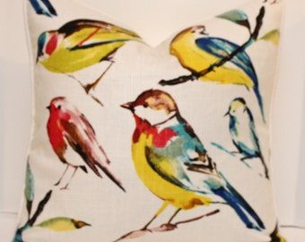 Watercolor Birds - 18 inch Pillow Cover - Birdwatcher Meadow - Red - Yellow - Blue - Ivory Linen