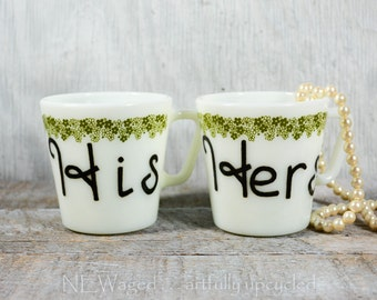 His and Hers coffee mugs, couples coffee mug set, cute 70's cup, unique coffee mugs, couple gift