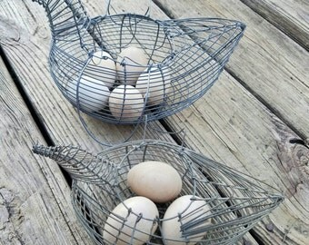 Vintage Wire Hen Baskets Egg Baskets Vintage Farm Decor