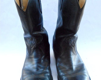 Vintage Roper Farmer Black Leather Boots Mens Cowboy Rios Of Mercedes Pecos Equestrian U.S. Shoe Size 10EE Western Southwestern Riding Work