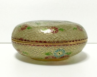 Vintage Chinese Plique a Jour Shotai-Shippo cloisonne box, floral decoration features Chrysanthemums