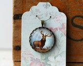 """Stag Vintage Inspired Brass and Glass Bubble Necklace (#62) - """"Rozie Series"""""""