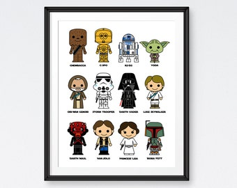 SALE Star Wars Art Printables,Starwars Characters , Star Wars Poster, Room Decor- Instant Download