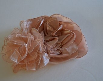 Nude Blush Flower applique, Satin and organza Flower applique, flower applique for sash, flower applique for headpiece, Bridall blush nude