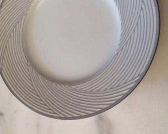 Dansk Tapestries Damask White Gray Blue 2 BREAD Plate Jack Lenor Larsen China