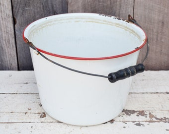 Vintage Enamel Bucket Red White Pail Black Wooden Handle Leaky Rustic Primitive Farm Ranch Garden Chippy Enamelware