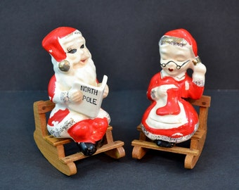 Vintage Santa Claus Mrs. Claus Salt & Pepper Shakers Christmas Ceramic Wood Rocking Chairs North Pole News Red White Japan 1950's