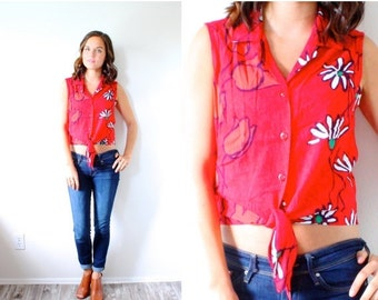 20% OFF HALLOWEEN SALE Vintage boho Hawaiian floral red floral shirt // tank top blouse // 80's floral top // floral blouse tropical // summ