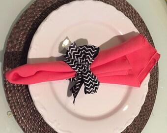Set of 16  Dinner Napkins in Coral Salmon Gabardine 19 x 19 Wedding Party Reception