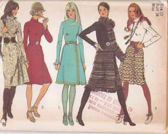 1970s Sewing Pattern Simplicity 9576 Size 12 Bust 34 dress with front wrap skirt and scarf sewing pattern from 1971