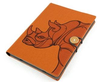 Rhinoceros / iPad mini 4 case, Kindle paperwhite case, iPad mini cover, kindle cover, kindle voyage, Samsung galaxy, handmade, case, cover