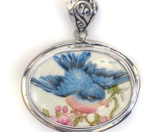 Broken China Jewelry Fluffy Vintage Bluebird Facing Right Sterling Horizontal Oval Pendant