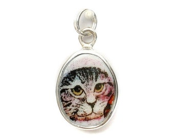 Broken China Jewelry Brown Grey Gray Kitty Cat Sterling Oval Charm 56-59