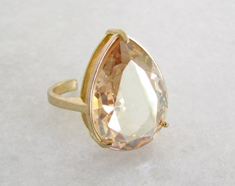 Champagne Gold Statement Ring - Pear Cut Ring, Gifts for her, Gifts for women, Gold Ring, Cocktail Ring, Champagne Gold, Pear Shaped Ring
