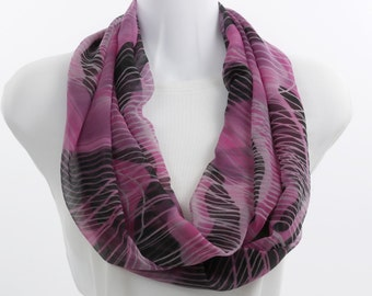 Infinity Scarf - Chiffon Sheer Pink Black and Light Gray SH271-L1