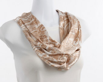 Long Infinity Scarf Elegant Pearl White and soft Peach Paisley Design ~ SK214-L5