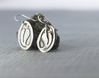 drop leaf earrings|sterling silver