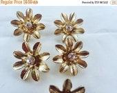 MOVING SALE Half Off Destash  Craft Lot of Salvaged Vintage Gold Tone Metal Rhinestone Flower Bracelet Slide
